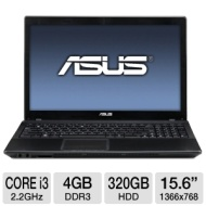 ASUS A54C-TS91 Laptop Computer - Intel Pentium Dual-Core B960 2.2GHz, 4GB DDR3, 320GB HDD, DVDRW, 15.6 Display, Windows 7 Home Premium 64-bit, Black,