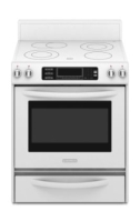 KitchenAid KERS807SSS Freestanding Electric Range True Convection Oven Beveled Glass Cooktop
