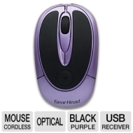 Gear Head MP2500PUR Mouse - Optical Wireless - Purple, Black