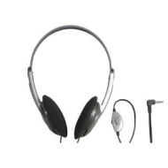 Silver Stereo Headphones with Volume Control, 1.2m Lead and 3.5mm Stereo Jack