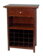 Winsome Wood Wine Cabinet with Drawer and Glass Holder, Walnut
