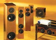Vienna Acoustics Beethoven Baby Grand Speaker System, REL R-305 Subwoofer, and Optoma HD72 DLP Projector