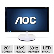 AOC e2043F 20 Widescreen LED Backlit LCD Monitor - 1600×900, 16:9, 60Hz, 50000000:1 Dynamic, 5ms, VGA, DVI, Tilt (Refurbished)