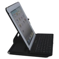 Wireless Bluetooth Keyboard + 360 Degrees Rotating Stand Case For iPad 2 (Black)