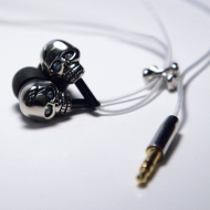 Grungebuds GB102SB Noise Isolation Earphone with Microphone (Skulls N' Bones)