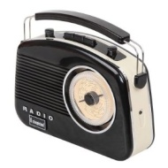 Steepletone Brighton 1950's Portable Retro Style Rotary Radio - Black/Beige
