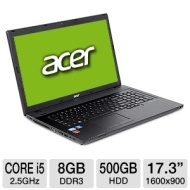 Acer TravelMate TM7750G-6826 NX.V5FAA.001 Notebook PC - 2nd Gen Intel Core i5-2450M 2.5GHz, 8GB DDR3, 500GB HDD, DVDRW, 1GB AMD Radeon HD 6470M, 17.3