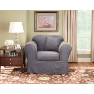 Maytex Piped Suede 2-Piece Slipcover Sofa, Flax