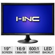 I-Inc IL195ABB 19 Class Widescreen LED Backlit Monitor - 1366 x 768, 16:9, 600:1 Native, 5ms, VGA, Energy Star