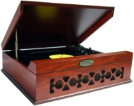 Pyle Retro Style Record Player: Mahogany Turntable (PVNTT6UMR) Brown