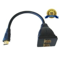 High Tech Computing - HDMI Splitter Professional Quality 1 INPUT to 2 OUTPUT / Male to 2 x Female / 1080p / v1.3 / Video / Audio / 15&quot;