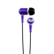 Hip Street HipBudz Antimicrobial Noise Isolating Stereo EarBuds With In-Line Volume Control (Purple)
