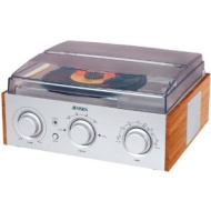 JENSEN JTA220 Stereo 3Speed Turntable with AM/FM Receiver 2 Builtin Speakers