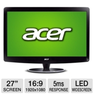 Acer H274HL 27 Class Widescreen LED Monitor - 1920 x 1080, 16:9, 100000000:1 Dynamic, 5ms, HDMI, DVI