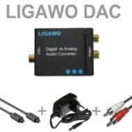 LIGAWO ® DAC - Audio digital zu analog Konverter Decoder Wandler - SPDIF/ Toslink zu R/L + Toslinkkabel + Cinchkabel + Netzteil