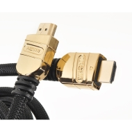 Duronic Gold Head HDC02/1 High Speed 1 Metre HDMI Cable - Version1.4 with Ethernet - FULL HD 1080p, Supports 3D - Black Cable 1M HDMI to HDMI Heads