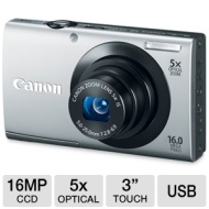 Canon PowerShot A3400 IS 16MP Silver Digital Camera 5x Optical Zoom 3 inch Touch Panel