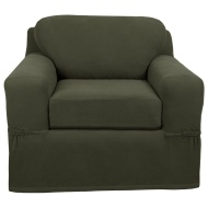 Sure Fit Stretch Suede Loveseat 2 Piece Bench Seat Slipcover