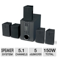 "Curtis HTIB1002 Home Theater Speaker System - 5.1 Channel, 150 Watts Total, 4"" Subwoofer (Refurbished)  RB-HTIB1002"