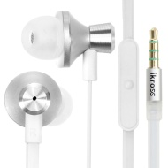 iKross In-Ear 3.5mm Noise-Isolation Stereo Earphones With Handsfree Microphone Headset- White / Metallic Silver