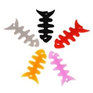 5x Cute Silicone Fish Bone Headphone Earphone Cord Cable Winder Wrap Tidy