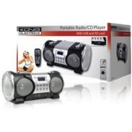 Konig Portable Radio/CD Player with USB Port and SD Card Slot