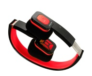 Eagle Tech Arion ARHP200BF Foldable Bluetooth Headphone with Wireless Music Streaming and Hands-Free Calling , Includes Hard Travel Case  - Black/Red