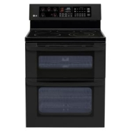 "LG LDE3015SB Black Large Capacity Electric Oven with 6"" High Upper Oven and Cer"