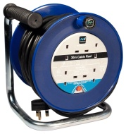 Masterplug LDCC3013/4BL 30m 4 Socket 13 Amp Open Cable Reel with Thermal Cut Out and Reset Button