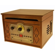 Ultra Compact Retro Nostalgic Wooden Music Centre System - Turntable Record Player - CD - Radio - Cassette (Nostalgia 10 watt pmpo) - inc E516 stylus