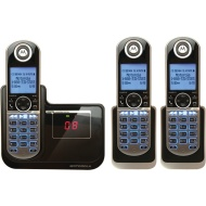 Motorola Dect 6.0 Cordless Phone System (Moto-P1003) with Answering Machine, 3 Handsets - Black/Silver