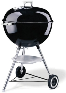 Weber 22 1/2-Inch One-Touch Silver Kettle Grill, Black