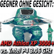 Ziemlicher Kraftakt: Athlon XP 3000+ vs. P4 3.06 GHz