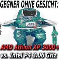 Ziemlicher Kraftakt: Athlon XP 3000+ vs. P4 3.06 GHz