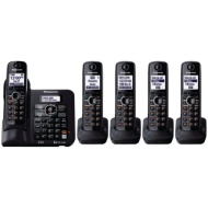 Panasonic KX-TG6645B DECT 6.0 Cordless Phone with Answering System, Black, 5 Handsets