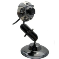 Kinobo USB Webcam 6.0 Megapixels with Metal Stand for Xp/Vista/Windows 7/Skype + Mic & LED lights