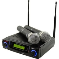 Pyle Wireless Professional UHF Dual Channel Microphone System With 2 Microphones