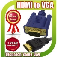 Premium Quality 1.8M Gold Plated HDMI Male to M SVGA VGA Converter AV HD Cable Lead, 1.8 M Meter Metre For HDTV Monitor Projector Video Receiver DVD P