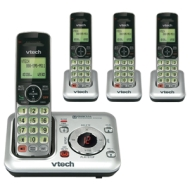 VTech CS6429-2 DECT 6.0 Cordless Phone, Silver/Black, 2 Handsets
