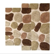 Chesapeake 2-Piece Pebbles 21-Inch by 34-Inch and 24-Inch by 40-Inch Bath Rug Set, Khaki