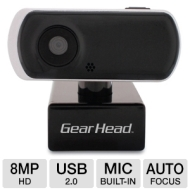 Gear Head Stealth Black Quick 8.0MP WebCam w/Auto Focus