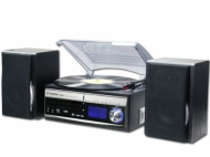 Steepletone Memphis 5-in-1 Music System - 3 Speed Turntable / CD Player / DAB/Analogue FM Radio / USB/SD MP3 Player / Cassette Player / Vinyl to MP3 /