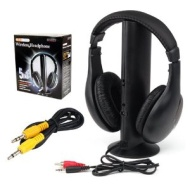 GadgetpoolUK 5 in 1 Cordless Wireless RF Earphone Headphone Headset Microphone for PC TV Radio