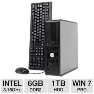 Dell Optiplex 760 Desktop PC - Intel Core 2 Duo 3.16GHz, 6GB DDR2, 1TB HDD, DVDRW, Windows 7 Professional 64-bit, Mouse & Keyboard (Off-Lease)  RB-760
