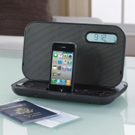 IHOME iP49BZC Portable Stereo Rechargeable Alarm Clock FM Radio for iPhone/iPod (Black)