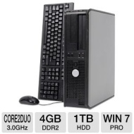 Dell Optiplex 760 Desktop PC - Intel Core 2 Duo 3.0GHz, 4GB DDR2, 1TB HDD, DVD-ROM, Windows 7 Professional 64-bit, Mouse & Keyboard (Off-Lease)  RB-76