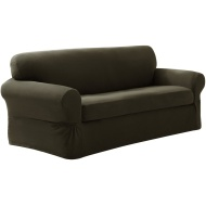 Maytex Pixel Stretch 2-Piece Slipcover Sofa, Dark Olive