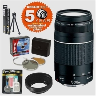 Canon EF 75-300mm f/4-5.6 III AF Zoom Telephoto Lens & 6 Year Warranty & Filters & Accessory Kit