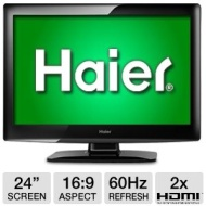 Haier L24B1180 24 Class LCD HDTV - 1080p 1920 x 1080 16:9 60Hz 5 ms 2100:1 HDMI USB (Refurbished) Refurbished