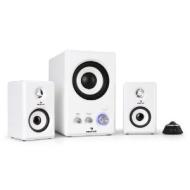 Auna Areal 220 Ice 2.1 Heimkino-System PC Lautsprecher Boxen (Kabelfernbedienung, 150W max., AUX-IN) weiß
